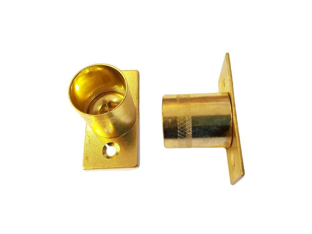 2 Brass Curtain Rod Recess Brackets 20mm Pole Support